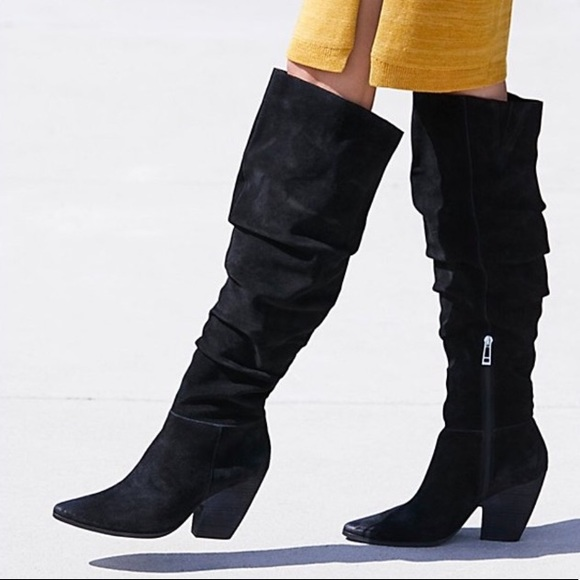 53aa7281da48 Free People Shoes   Jessie Slouch Over Knee Boots Black 10   Poshmark